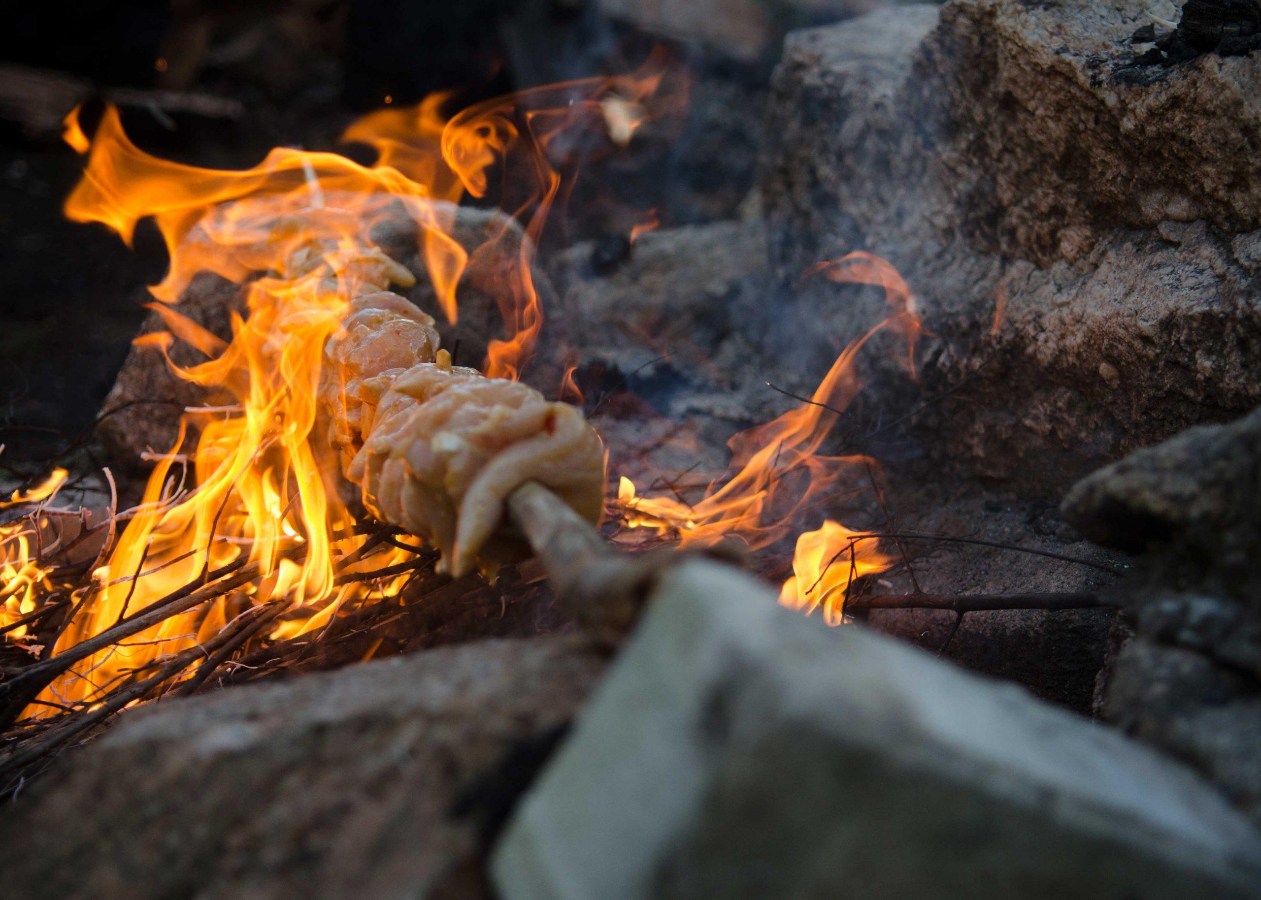 spit roast grilled chicken