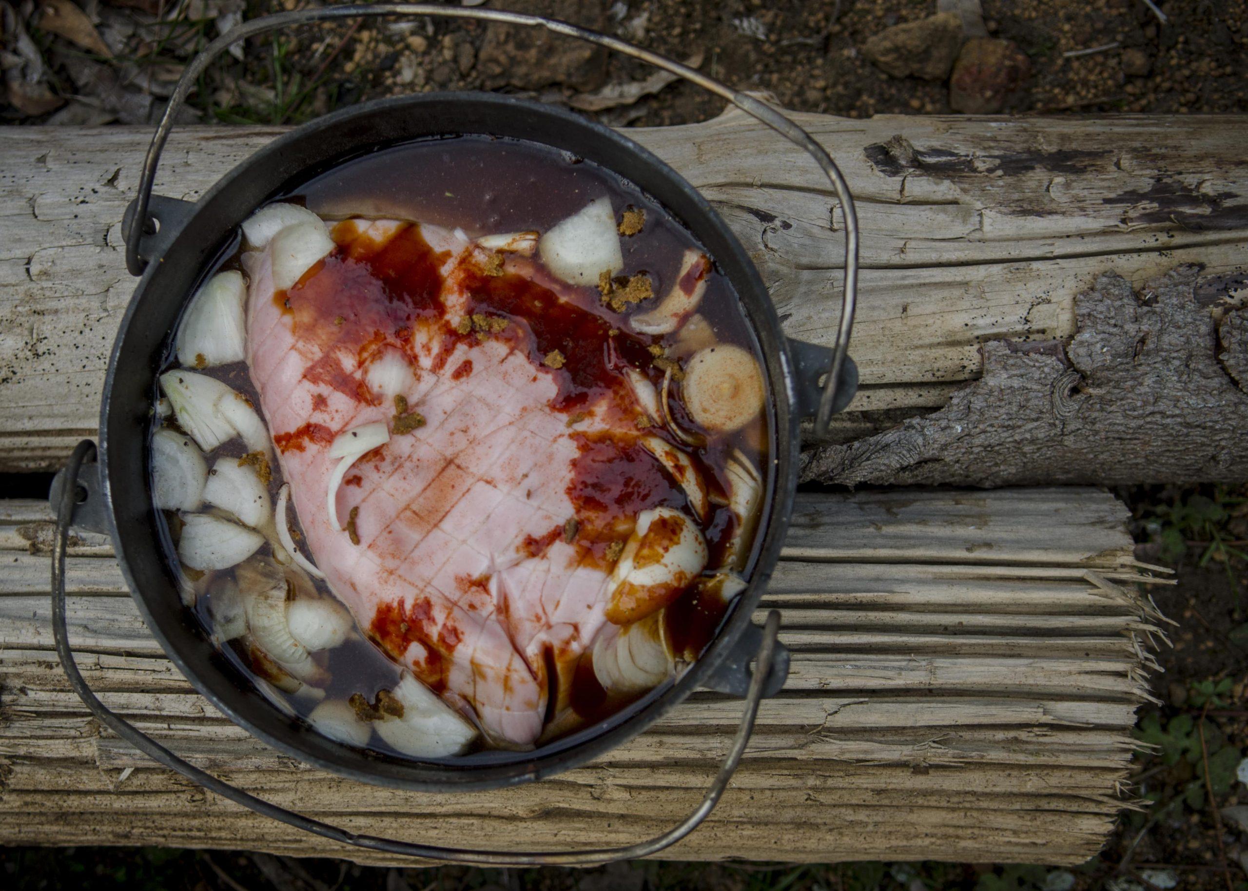 Camp oven pulled pork